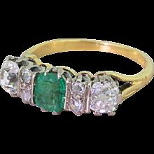 Art Deco Emerald & Old Cut Diamond Three Stone Ring, circa 1935