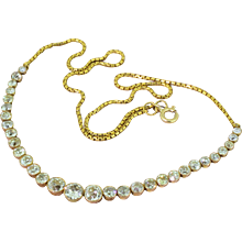 Art Deco 4.00 Carat Old Cut Diamond Line Necklace, circa 1930