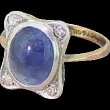 Edwardian Cabochon Sapphire & Eight-Cut Diamond Ring, circa 1905
