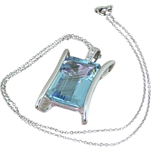 Mid Century 30.00 Carat Emerald Cut Aquamarine Pendant, circa 1965