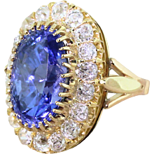 Edwardian 10.44 Carat Natural Ceylon Sapphire & Old Cut Diamond Cluster Ring, circa 1905