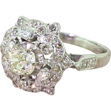 Mid Century 1.52 Carat Old Cut Diamond Ornate Cluster Ring, dated 1966