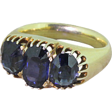 Victorian 3.50ct Natural Sapphire Three Stone Ring, circa 1880