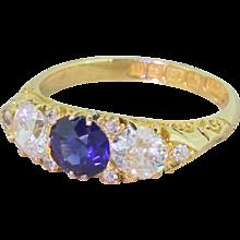 Edwardian Sapphire & Old Cut Diamond Three Stone Ring, dated 1903