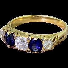 Victorian Old Cut Diamond & Sapphire Five Stone Ring, circa 1900