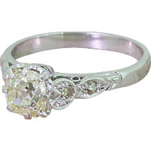Mid Century 1.01 Carat Light Fancy Yellow Old Cut Diamond Engagement Ring, circa 1950