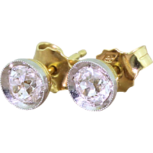 Mid Century 0.84 Carat Old Cut Diamond Stud Earrings, circa 1960