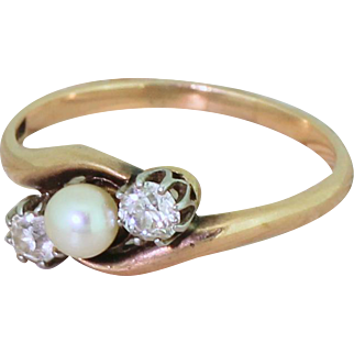 Mid Century Pearl & Old Cut Diamond Three Stone Crossover Ring, circa 1955