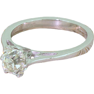 Modernist 1.27 Carat Old Cut Diamond Engagement Ring, circa 1960