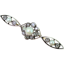 Victorian Natural Pearl & Old Cut Diamond Brooch, circa 1880