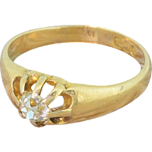 Edwardian 0.30 Carat Old Cut Diamond Solitaire Ring, dated 1902