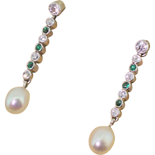 Art Deco Old Cut Diamond, Emerald & Pearl Drop Earrings, circa 1940