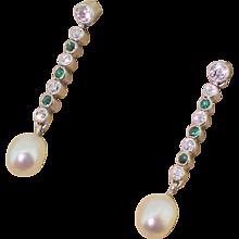 Art Deco Old Cut Diamond, Emerald & Pearl Drop Earrings, circa 1940