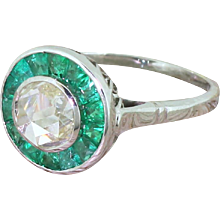 1.00 Carat Rose Cut Diamond & Emerald Target Cluster Ring, 18k White Gold