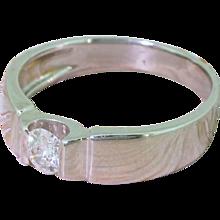 0.35 Carat Round Brilliant Cut Diamond Solitaire Ring, 18k White Gold