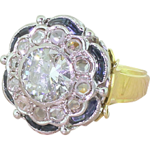 Art Deco 1.97 Carat Old Cut Diamond, Rose Cut Diamond & Sapphire Cluster Ring, circa 1940