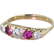Victorian Old Cut Diamond & Ruby Five Stone Ring, circa 1900