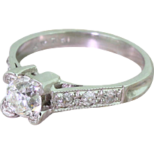 Art Deco 0.93 Carat Old Cut Diamond Engagement Ring, circa 1920