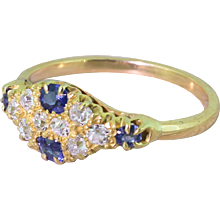 Edwardian Old Cut Diamond & Sapphire Cluster Ring, circa 1905