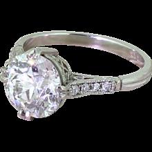 Art Deco 2.77 Old European Cut Diamond Engagement Ring, circa 1915