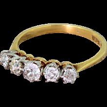Art Deco 0.70 Carat Old Cut Diamond Five Stone Ring, circa 1920