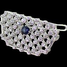 Art Deco Old Cut Diamond & Sapphire Lattice Brooch, circa 1925