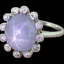Edwardian 12.00 Carat Star Sapphire & Old Cut Diamond Ring, circa 1910