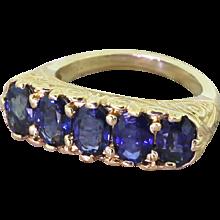 Victorian 2.50 Carat Sapphire Five Stone Ring, circa 1900