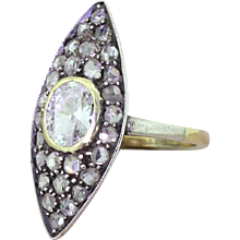 Victorian 1.13 Carat Old Cut & Rose Cut Diamond Navette Ring, circa 1860