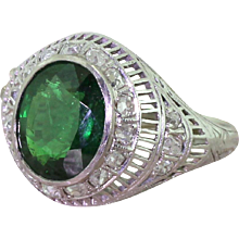 Art Deco 3.25 Carat Tsavorite & Old Cut Diamond Ring, circa 1925