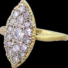 Retro 0.55 Carat Transitional Cut Diamond Navette Ring, circa 1945