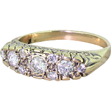 Mid Century 0.94 Carat Brilliant Cut Diamond Half Hoop Ring, circa 1960