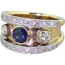 Mid Century Sapphire & Diamond Three Stone Ring, circa 1965