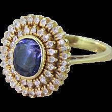 Mid Century 1.00 Carat Sapphire & Diamond Double Cluster Ring, circa 1950