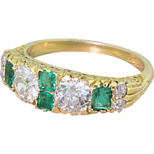Edwardian 2.07 Carat Old Cut Diamond & Emerald Half Hoop Ring, circa 1905