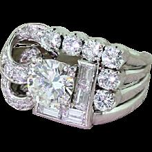 Retro 3.00 Carat Transitional Cut & Baguette Cut Diamond Cocktail Ring, circa 1945
