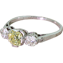 Art Deco 1.32 Carat Fancy Greenish Yellow & White Old Cut Diamond Trilogy Ring, circa 1935