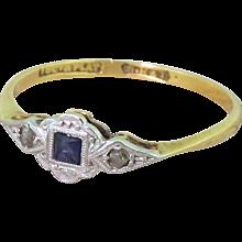Art Deco French Cut Sapphire & Rose Cut Diamond Ring, circa 1920