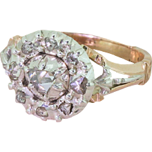 Georgian 0.50 Carat Rose Cut Diamond Cluster Ring, circa 1830