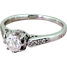 Art Deco 0.55 Carat Old Cut Diamond Engagement Ring, circa 1935