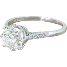 Art Deco 1.78 Carat Old Cushion Cut Diamond Engagement Ring, circa 1920