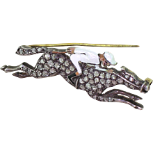 1.20 Carat Rose Cut Diamond Horse & Jockey Brooch