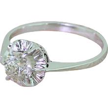Art Deco 0.97 Carat Old Cut Diamond Engagement Ring, circa 1940