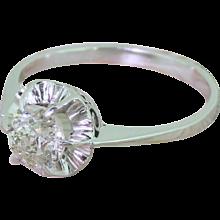 Art Deco 0.97 Carat Old Cut Diamond Engagement Ring, circa 1940