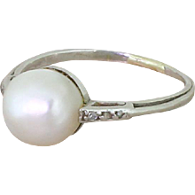 Art Deco Natural Saltwater Pearl Solitaire Ring, circa 1935