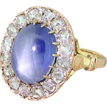 Art Deco 10.45 Carat Star Sapphire & Rose Cut Diamond Ring, French, circa 1915