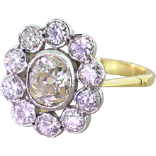 Art Deco 2.00 Carat Old Cut Diamond Oval Cluster Ring, circa 1925