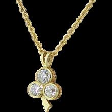 """Art Deco 0.80 Carat Old Cut """"Triple"""" Diamond Pendant, circa 1935"""