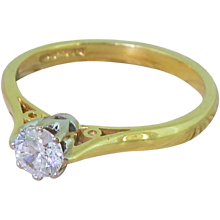 Late 20th Century 0.35 Carat Round Brilliant Cut Diamond Engagement Ring, dated 1990