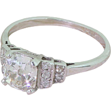 Art Deco 1.15 Carat Old Cushion Cut Diamond Engagement Ring, circa 1915